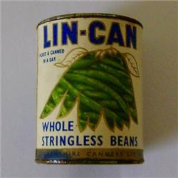 Miniatures - Tins - Lin-Can Stringless Beans (T49) - http://www.hilarypagetoys.com