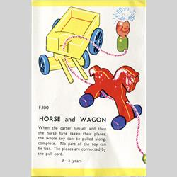 1932-1962 ~ K & F Prefix Ref. No's - F100 Forest Toys - Horse and Wagon - http://www.hilarypagetoys.com