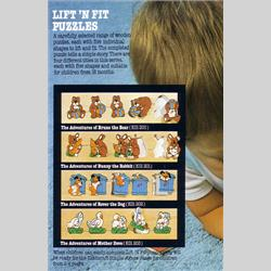 1978-1991~ K01-, K02-, K03-, K05- Ref. No's - K01 201 Lift n' Fit Puzzle - The Adventures of Bunny the Rabbit - http://www.hilarypagetoys.com
