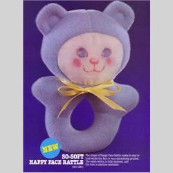 1978-1991~ K01-, K02-, K03-, K05- Ref. No's - K01 938 So-Soft Happy Face Rattle - http://www.hilarypagetoys.com