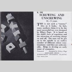 1932-1962 ~ K & F Prefix Ref. No's - K288 Screwing and Unscrewing - http://www.hilarypagetoys.com