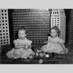 Geraldine & Vivienne with Skyscrapers built for 1947 Earls Court Toy Fair - 1947