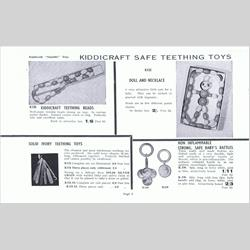 1932-1962 ~ K & F Prefix Ref. No's - K123 Solid Ivory Teething Toys (6 pieces Ribboned) - http://www.hilarypagetoys.com