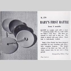 1932-1962 ~ K & F Prefix Ref. No's - K270 Baby's First Rattle (5 discs on silver chain) - http://www.hilarypagetoys.com