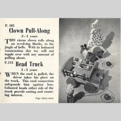 1932-1962 ~ K & F Prefix Ref. No's - F105 Forest Toys - Clown Pull-Along - http://www.hilarypagetoys.com