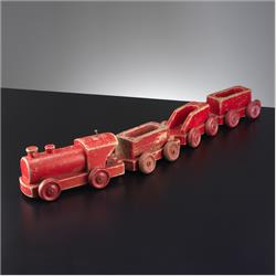 1932-1962 ~ K & F Prefix Ref. No's - K72 Pull-Along-Train - Red - http://www.hilarypagetoys.com