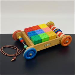 Interlocking Building Cubes - 5-118 Ringalong Truck with 9 Interlocking Building Cubes - New larger size - with Chime - http://www.hilarypagetoys.com