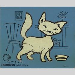 1932-1962 ~ K & F Prefix Ref. No's - K157 Simple Jigsaw - No.4 Cat Blue (9pcs) - http://www.hilarypagetoys.com