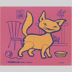 1932-1962 ~ K & F Prefix Ref. No's - K157 Simple Jigsaw - No.4 Cat Pink (9pcs) - http://www.hilarypagetoys.com