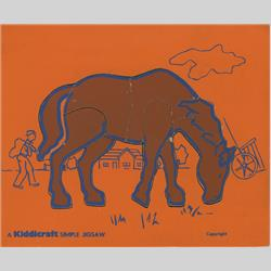 1932-1962 ~ K & F Prefix Ref. No's - K157 Simple Jigsaw - No.9 Horse - Orange (9pcs) - http://www.hilarypagetoys.com