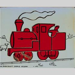 1932-1962 ~ K & F Prefix Ref. No's - K157 Simple Jigsaw - No.10 Engine (9pcs) Red on Blue - http://www.hilarypagetoys.com