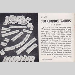1932-1962 ~ K & F Prefix Ref. No's - K377 300 Common Words - http://www.hilarypagetoys.com