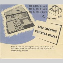 1932-1962 ~ K & F Prefix Ref. No's - K301 Self-Locking Building Bricks (Small) - Set 0 - 40 whole bricks & 30 half bricks, 3 doors and 9 windows  - http://www.hilarypagetoys.com