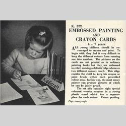 1932-1962 ~ K & F Prefix Ref. No's - K372 Embossed Painting and Crayon Cards - http://www.hilarypagetoys.com