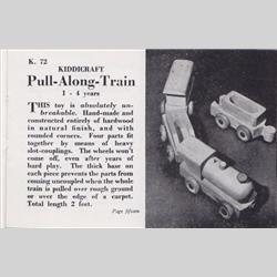 1932-1962 ~ K & F Prefix Ref. No's - K72 Pull-Along-Train - Natural Wood - http://www.hilarypagetoys.com