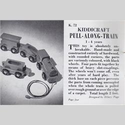 1932-1962 ~ K & F Prefix Ref. No's - K72 Pull-Along-Train - Red with Black Wheels - http://www.hilarypagetoys.com