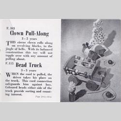 1932-1962 ~ K & F Prefix Ref. No's - F115 Forest Toys - Bead Truck - http://www.hilarypagetoys.com
