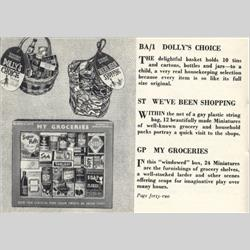 1932-1962 ~ K & F Prefix Ref. No's - BA/1 Miniatures - Dolly's Choice - 10 tins, cartons, bottles & jars in a basket - http://www.hilarypagetoys.com