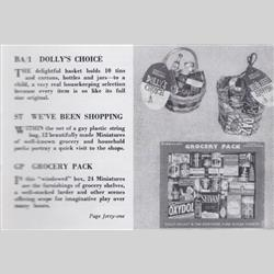 1932-1962 ~ K & F Prefix Ref. No's - ST Miniatures - We've Been Shopping - 12 miniatures in a string bag - http://www.hilarypagetoys.com