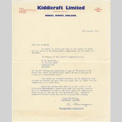 Customer Communication - United Kingdom - 1965 Photographic Competition Letter - http://www.hilarypagetoys.com